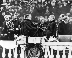 Woodrow Wilson takes the oath for Presidency