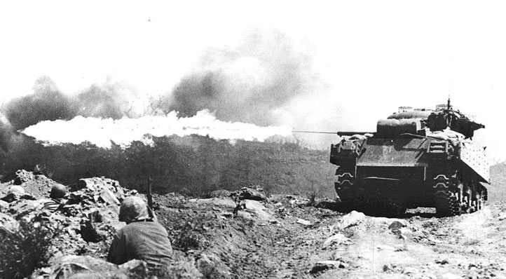A M4A3 Sherman with flame-thrower