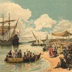 Vasco da Gama leaving the port of Lisbon