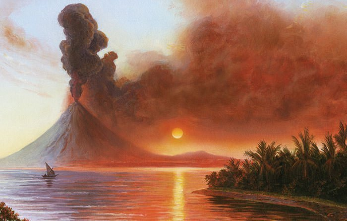 An artist painting of Mt Tambora eruption | Learnodo Newtonic