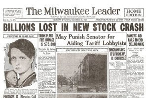 Wall Street Crash of 1929 Newspaper headline