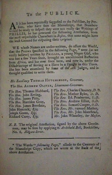 Phillis Wheatley Authorship Attestation