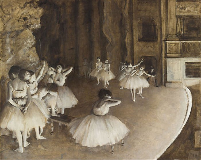 Ballet Rehearsal on Stage (1874) - Edgar Degas