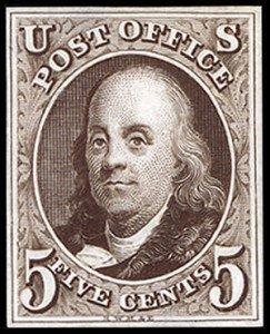 Benjamin Franklin First US postage stamp