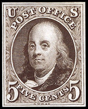 Benjamin Franklin First US postage stamp