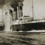 Depiction of Lusitania being torpedoed