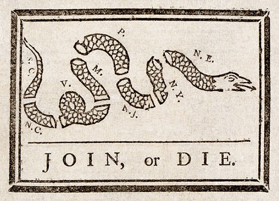 Join, or Die by Benjamin Franklin