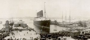 Lusitania at the end of her maiden voyage