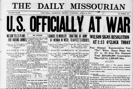 Headline of U.S. entering World War I