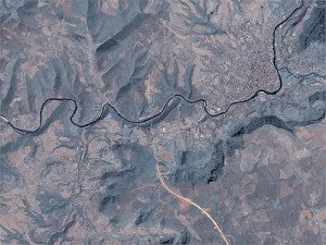 Satellite image of the route before construction of Millau Viaduct