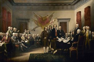 Painting of Committee of Five presenting the U.S. Declaration of Independence