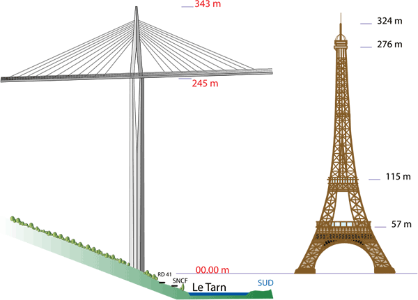 Suspension and cable-stayed bridge diagram