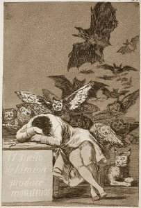 The Sleep of Reason Produces Monsters (1799) by Francisco Goya