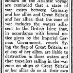 Lusitania German warning