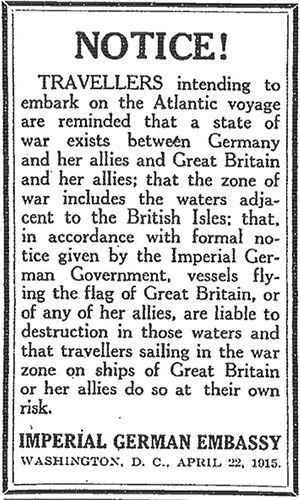 Lusitania German warning