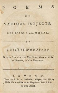 Title Page of the 1773 edition of Poems on Various Subjects, Religious and Moral