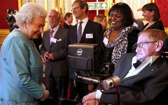 Queen Elizabeth II and Stephen Hawking