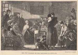 Engraving of Elizabeth Fry at Newgate Prison