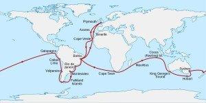 H.M.S. Beagle voyage route (1831–1836)