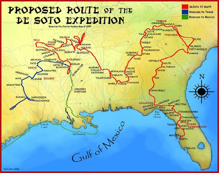 Hernando De Soto Expedition Map