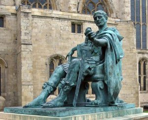 Bronze statue of Constantine I in York, England