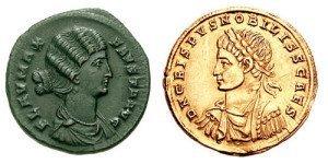 Coins depicting Fausta and Crispus