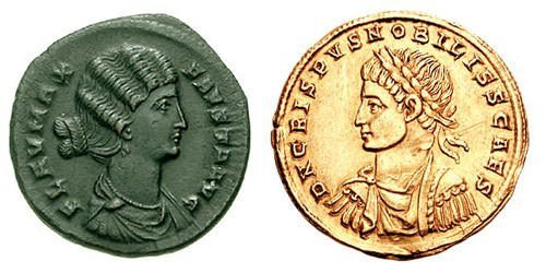Coins depicting Fausta and Crispus