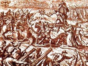 Battle of Cajamarca engraving