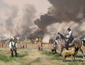 De Soto and his men burning Mabila