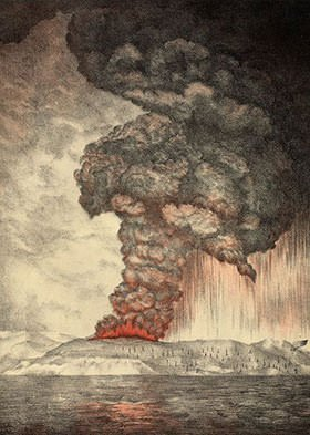 Depiction of 1883 eruption of Krakatoa