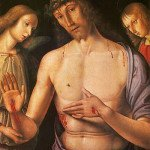 Christ supported by two angels - Giovanni Santi
