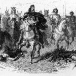Charlemagne heading his army against the Saxons