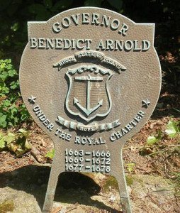 Grave medalion of great-grandfather of Benedict Arnold