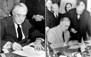 FDR signing declarations of war during WW2
