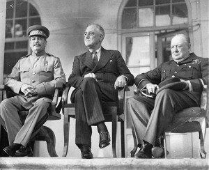 Joseph Stalin, Franklin D. Roosevelt and Winston Churchill