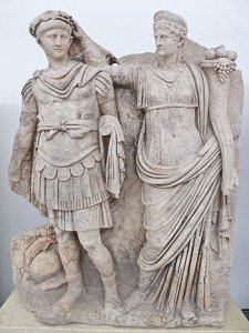 Sculpture of Nero being crowned Emperor by Agrippina