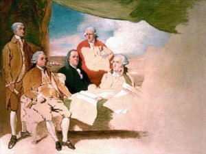 Incomplete painting of Treaty of Paris