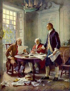 Jefferson, Franklin and John Adams working on the Declaration of Independence