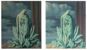 Two versions of Rene Magritte's The Flavour of Tears