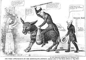 Democratic Party 1837 donkey cartoon