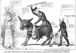 Democratic Party 1837 donkey cartoon