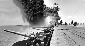 Photo of USS Yorktown during the Battle of Midway