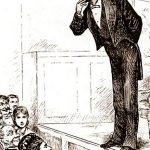 Illustration of Mark Twain giving a lecture