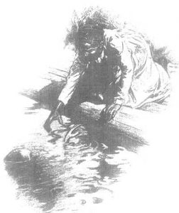 Mark Twain being rescued from drowning illustration