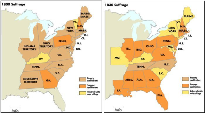 U S Voting Rights Expansion Map 1800 1830