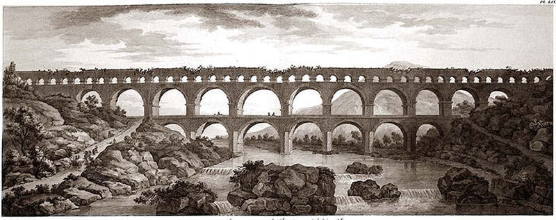 1804 Engraving of Pont du Gard