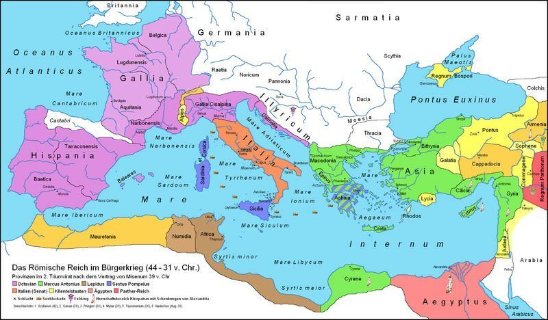 Map of Rome in 39 BC