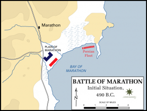 Battle of Marathon initial positions map