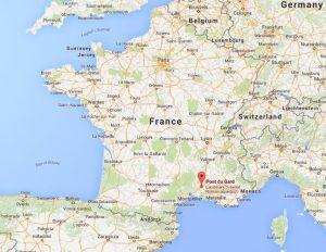 Pont du Gard on map of France