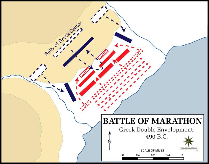 Battle of Marathon forces movement map